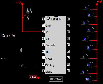 Proyecto De Vumetro Con 10 Leds Lm3914 Lm3915