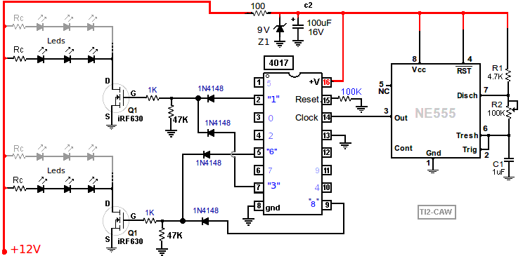 Leds simulating police lights diagram